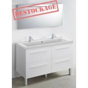 MEUBLE + PLAN VASQUE modèle toucan 1200 x 480 mm miroir mi- hauteur - led intégrée