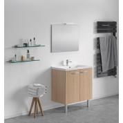 Meuble + vasque Toucan Portes  800 x 480 mm miroir mi-hauteur - applique led