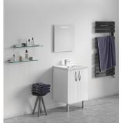 Meuble + vasque Toucan Portes 600 x 480 mm miroir mi-hauteur - led intégrée