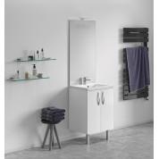 Meuble + vasque Toucan Portes 600 x 480 mm miroir toute hauteur - applique led