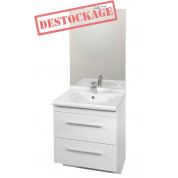 Meuble + vasque Toucan Tiroirs 700 x 520 mm miroir mi-hauteur - led intégrée